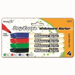 96 Units of Four Piece Dry Erase Marker Assorted Color - Markers and Highlighters