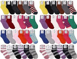 48 Units of Yacht & Smith Women's Solid Colored Fuzzy Socks Assorted Colors, Size 9-11 - Womens Fuzzy Socks