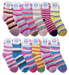 12 Units of Yacht & Smith Women's Fuzzy Snuggle Socks , Size 9-11 Comfort Socks Assorted Stripes - Womens Fuzzy Socks