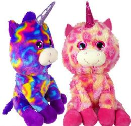 """6 Units of 15"""" Sparkly Eyed Plush Unicorns - Plush Toys"""