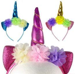 12 Units of Sparkly Flowered Unicorn Horn Headbands - Headbands