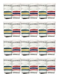 24 Units of Yacht & Smith Kids Cotton Tube Socks White With Stripes Size 4-6 - Boys Crew Sock