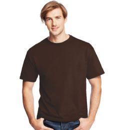 24 Units of Men's Hanes Dark Chocolcate Cotton T-Shirt , Size Small - Mens T-Shirts