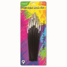 96 Units of Nine Piece Paint Brush Set - Paint, Brushes & Finger Paint