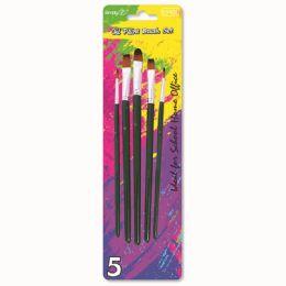 144 Units of Five Piece Paint Brush Set - Paint, Brushes & Finger Paint