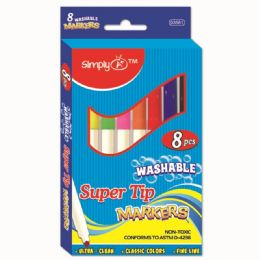 144 Units of Eight Piece Washable Markers Super Tip - Markers and Highlighters