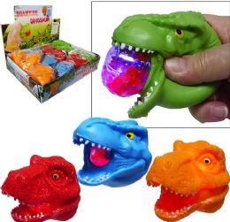 "12 Units of 3"" Flashing Dinosaur Gel Bead Stress Balls - Slime & Squishees"