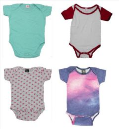 24 Units of Infant Assorted Design & Color Onesie, Size M - Baby Apparel