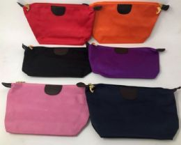 72 Units of Womens Assorted Colors 9 Inch Zippered Cosmetic Bag - Cosmetic Cases