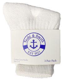 240 Units of Yacht & Smith Kids Value Pack of Cotton Crew Socks Size 2-4 White - Girls Crew Socks