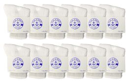 12 Units of Yacht & Smith Kids Value Pack Of Cotton Crew Socks Size 2-4 White - Boys Crew Sock
