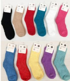 180 Units of Women Solid Color Fuzzy Socks Size 9-11 - Womens Fuzzy Socks