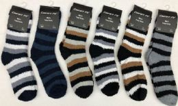 180 Units of Mens Stripe Color Fuzzy Socks - Men's Fuzzy Socks