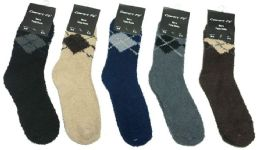 180 Units of Mens Argyle Color Fuzzy Socks - Men's Fuzzy Socks