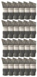 24 Units of Yacht & Smith Men's King Size Premium Cotton Crew Socks Gray Size 13-16 - Big And Tall Mens Crew Socks