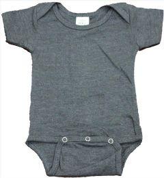 24 Units of Infant Dark Heather Grey Cotton Onesie, Size S - Baby Apparel