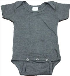 24 Units of Infant Dark Heather Grey Cotton Onesie, Size M - Baby Apparel