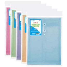96 Units of Two Count poly string envelope letter size clear - Folders and Report Covers