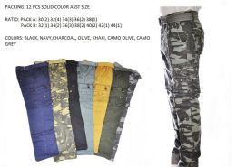 12 Units of Men's Fashion Cargo Pants 100% Cotton Size Scale B Only - Mens Pants