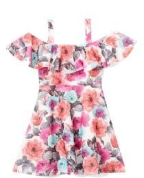 6 Units of Girls Fuchsia Flower Print Dress in Size 7-14 - Girls Dresses and Romper Sets