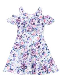 6 Units of Girls Lilac Flower Print Dress in Size 4-6X - Girls Dresses and Romper Sets