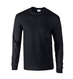 36 Units of Men's Gildan Irregular Black Long Sleeve T-Shirts, Size Large - Mens T-Shirts