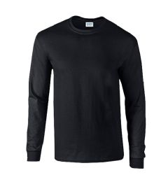 72 Units of Men's Gildan Irregular Black Long Sleeve T-Shirts, Size Xlarge - Mens T-Shirts