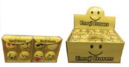 48 Units of 4 Pack Mini Emoji Erasers - Erasers