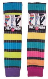60 Units of Women's Over The Knee Rainbow Stripe Socks - Womens Over the knee sock