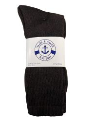 36 Units of Yacht & Smith Men's Cotton Terry Crew Socks Size 10-13 Brown Bulk Pack - Mens Crew Socks