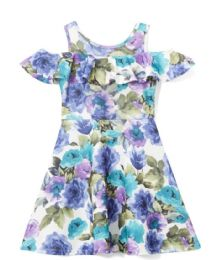 6 Units of Girls Teal Flower Print Dress in Size 4-6X - Girls Dresses and Romper Sets