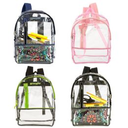 "24 Units of 17"" Clear Backpack With 4 Assorted Trims - Backpacks 17"""