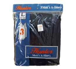 72 Units of Mens Cotton A Shirt Undershirt Solid Black Assorted Sizes - Mens T-Shirts