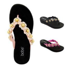 30 Units of Womens Heeled Floral Flip Flop - Women's Flip Flops