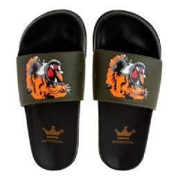 12 Units of Mens Tiger Face Slides - Men's Flip Flops and Sandals