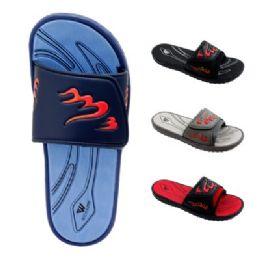 48 Units of Men's Flame Velcro Slide - Men's Flip Flops and Sandals