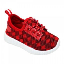 9 Units of Kids Diamond Knit Jogger In Red - Boys Sneakers