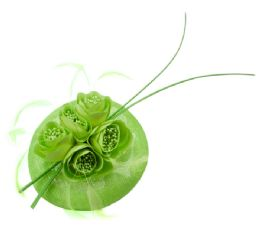 12 Units of Sinamay Fascinator With Flower And Feather Trim Green - Church Hats