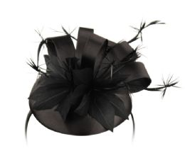 12 Units of Sinamay Fascinator With Ribbon Flower And Feather Trim In Black - Church Hats
