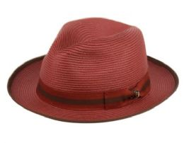 12 Units of Richman Brothers Polybraid Fedora Hats With Grosgrain Band In Burgandy - Fedoras, Driver Caps & Visor