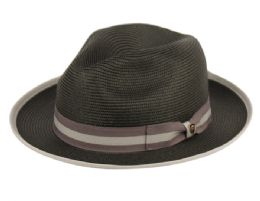 12 Units of Richman Brothers Polybraid Fedora Hats With Grosgrain Band In Black - Fedoras, Driver Caps & Visor