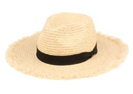 12 Units of Raffia Straw Raw Edge Panama Hats With Black Band - Sun Hats