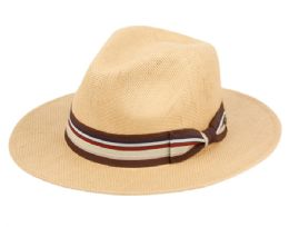 12 Units of Woven Paper Straw Panama Hats With Stripe Band - Sun Hats