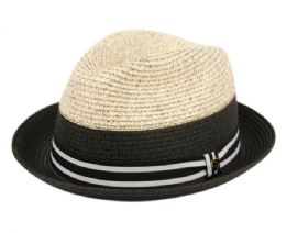12 Units of Richman Brothers Two Tone Polybraid Fedora Hats With Grosgrain Band In Black - Fedoras, Driver Caps & Visor