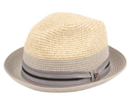 12 Units of Richman Brothers Two Tone Polybraid Fedora Hats With Grosgrain Band In Gray - Fedoras, Driver Caps & Visor