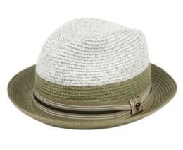 12 Units of Richman Brothers Two Tone Polybraid Fedora Hats With Grosgrain Band In Olive - Fedoras, Driver Caps & Visor