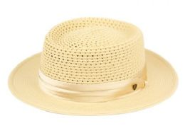 12 Units of Richman Brothers Polybraid Hats With Pleat Silk Band In Natural - Fedoras, Driver Caps & Visor