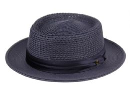 12 Units of Richman Brothers Polybraid Hats With Pleat Silk Band In Navy - Fedoras, Driver Caps & Visor