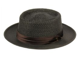 6 Units of RICHMAN BROTHERS POLYBRAID HATS WITH PLEAT SILK BAND IN BLACK - Fedoras, Driver Caps & Visor