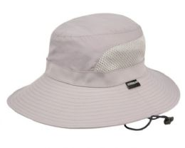 12 Units of Ponytail Outdoor Bucket Hats With Partial Mesh And Chin Cord - Bucket Hats